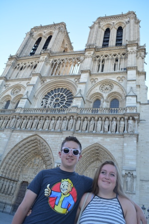 """The """"kids"""" in front of Notre Dame, Summer 2016"""